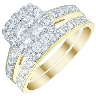 18ct Yellow Gold 1ct Diamond Halo Bridal Set - Product number 5834864