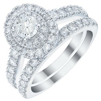 Platinum 1.5ct Diamond Double Halo Bridal Set - Product number 5835046