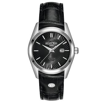 Roamer Searock Ladies' Black Dial Black Leather Strap Watch - Product number 5836166