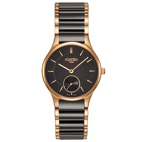 Roamer Ladies' Black Ceramic & Gold-Plated Bracelet Watch - Product number 5837189