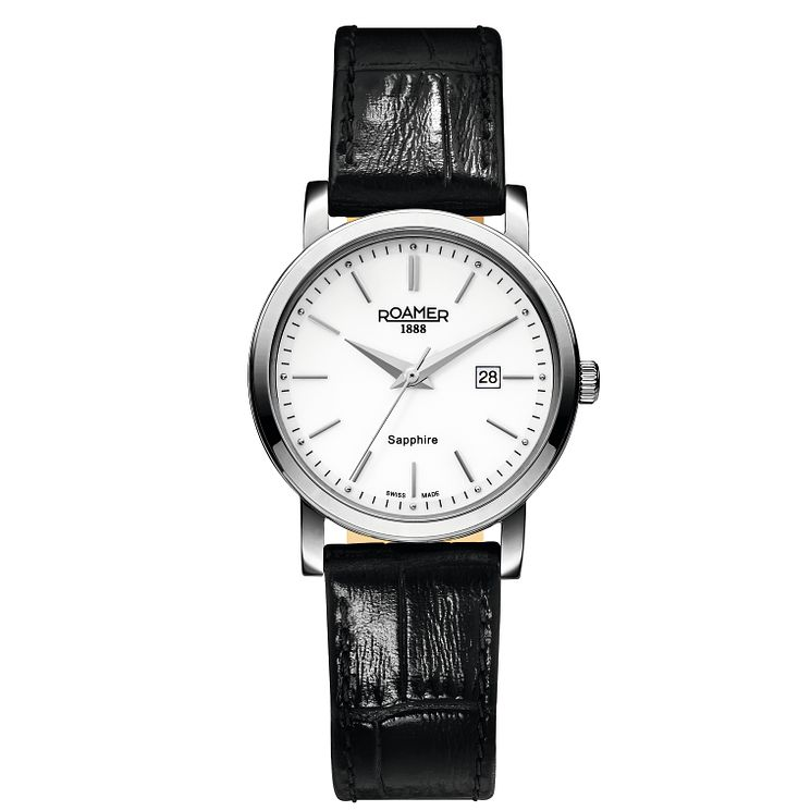 Roamer Ladies' White Dial Black Leather Strap Watch - Product number 5837219