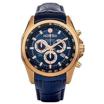 Roamer Rockshell Mark III Men's Blue Leather Strap Watch - Product number 5837251