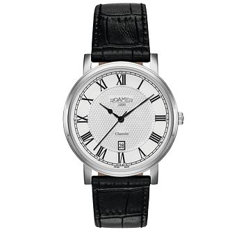 Roamer Classic Men's White Dial Black Leather Strap Watch - Product number 5837421