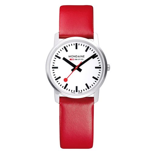 Mondaine Ladies' White Dial Red Leather Strap Watch - Product number 5837502