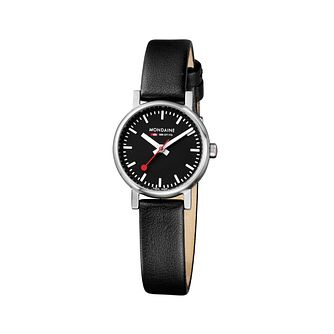 Mondaine Ladies' Black Dial Black Leather Strap Watch - Product number 5837561