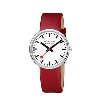 Mondaine Ladies' White Dial Red Leather Strap Watch - Product number 5837642