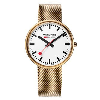 Mondaine Ladies' White Dial Gold-Plated Mesh Bracelet Watch - Product number 5837669