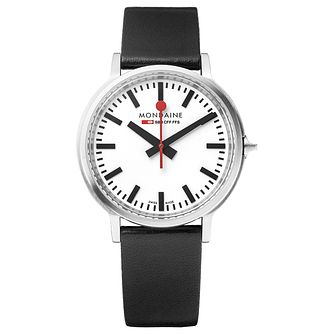 Mondaine SBB Stop2go Men's Black Leather Strap Watch - Product number 5837693