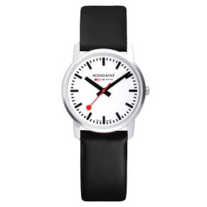 Mondaine Men's White Dial Black Leather Strap Watch - Product number 5837758