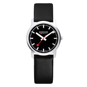 Mondaine Men's Black Dial Black Leather Strap Watch - Product number 5837766