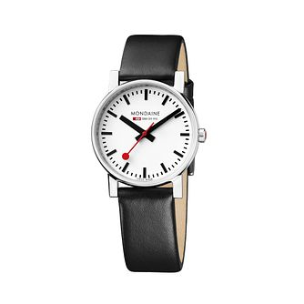 Mondaine Unisex White Dial Black Leather Strap Watch - Product number 5837782