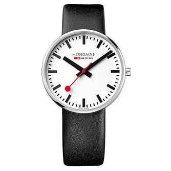 Mondaine Men's White Dial Black Leather Strap Watch - Product number 5837820
