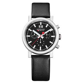 Mondaine SBB Evo Chrono Black Leather Strap Watch - Product number 5837901