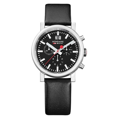 Mondaine Men's Multi Dial Black Leather Strap Watch - Product number 5837901