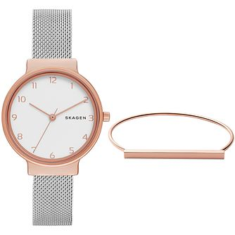 Skagen Ancher Ladies' Two Colour Bracelet Watch Gift Set - Product number 5838770