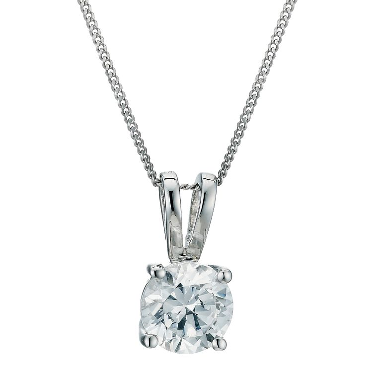 18ct White Gold 0.75ct F/G VS2 Diamond Pendant - Product number 5840341