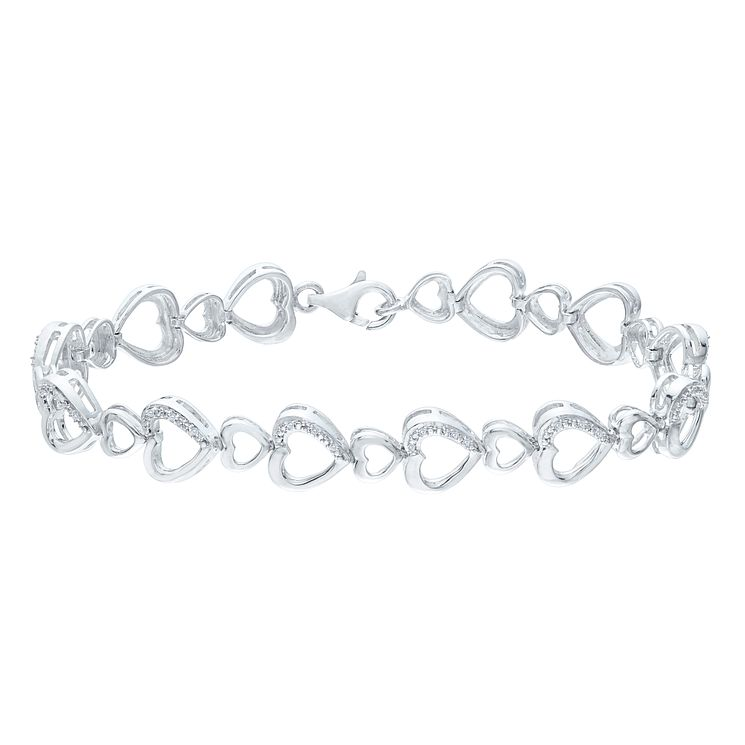 Sterling Silver Diamond Heart Bracelet - Product number 5850533