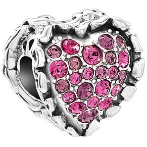 Chamilia Sterling Silver Fushia Ruffled Heart Bead - Product number 5853990