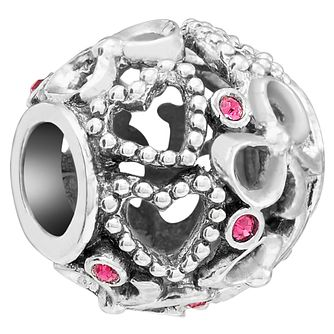 Chamilia Sterling Silver Bows and Hearts Fuschia Bead - Product number 5854016