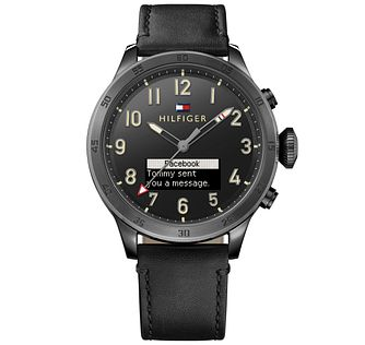 Tommy Hilfiger Men's Black Leather Strap Smartwatch - Product number 5854962