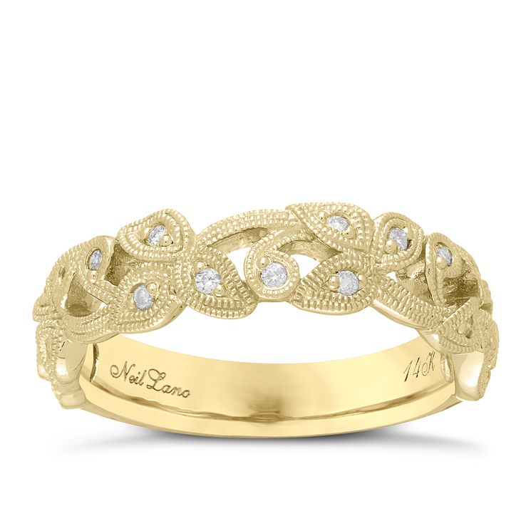 Neil Lane Designs 14ct Yellow Gold 0.11ct diamond vine band - Product number 5856000