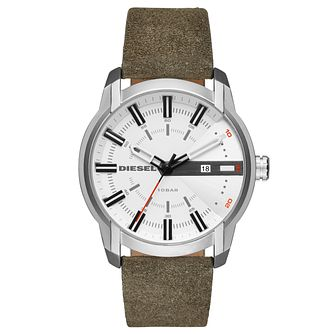 Diesel Men's Green Leather Strap Watch - Product number 5861888