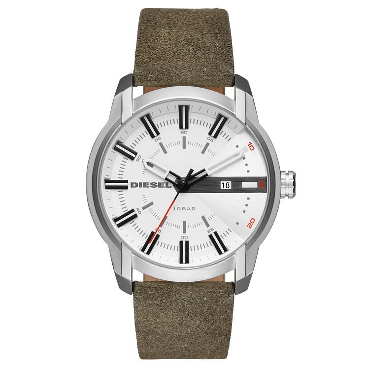 Diesel Gent's Green Leather Strap Watch - Product number 5861888