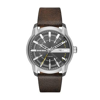 Diesel Men's Brown Leather Strap Watch - Product number 5861896