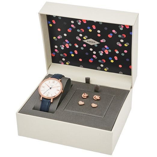 Fossil Ladies' Navy Leather Strap Watch and Earrings Set - Product number 5866006