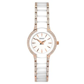 Sekonda Seksy Ladies' Rose & White Ceramic Bracelet Watch - Product number 5866081