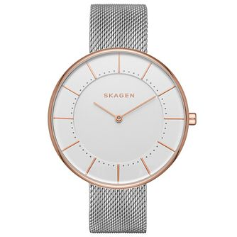 Skagen Ladies' Rose and Silver Mesh Strap Watch - Product number 5866146
