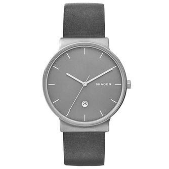 Skagen Men's Grey Leather Strap Watch - Product number 5866162