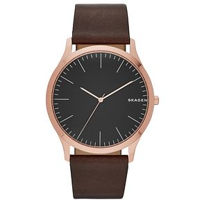Skagen Men's Brown Leather Strap Watch - Product number 5866189