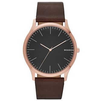 Skagen Gent's Brown Leather Strap Watch - Product number 5866189