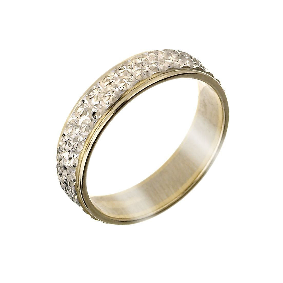 9ct Gold TwoColour Diamond Cut Band HSamuel