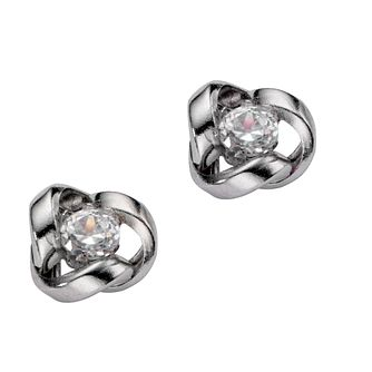 9ct White Gold Cubic Zirconia Knot Stud Earrings - Product number 5909171