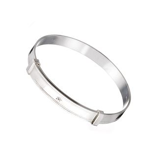 Sterling silver diamond-set child's expander bangle - Product number 5924707