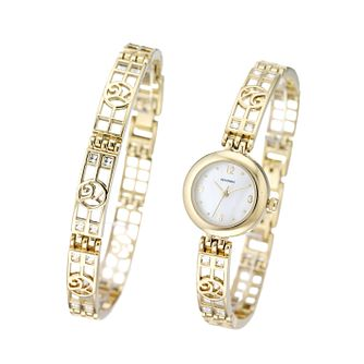 Sekonda Ladies' Gold-Plated Watch and Bracelet Set - Product number 5928133