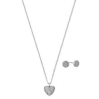 Michael Kors Stainless Steel Necklace and Earring Set - Product number 5937108