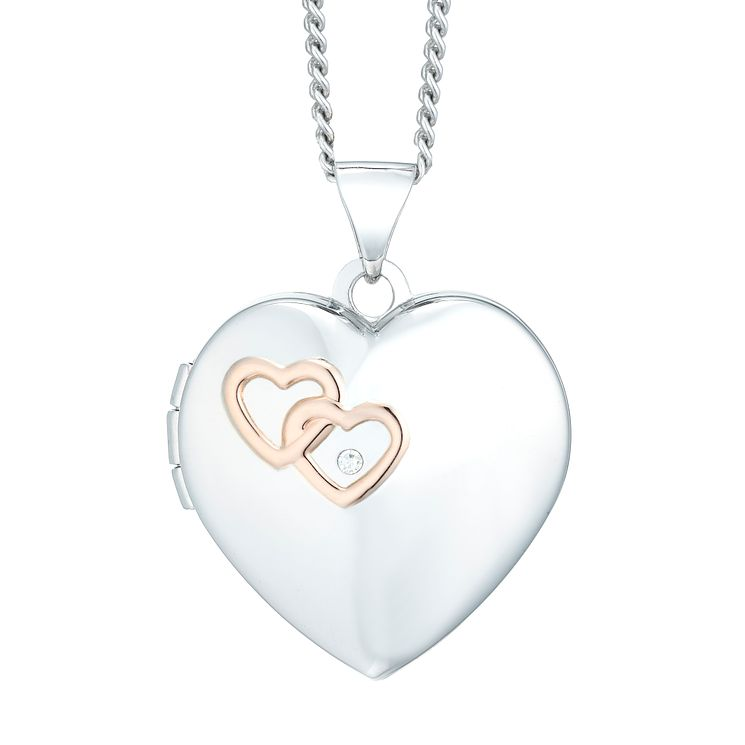 Silver & 9ct Rose Gold Diamond Heart Locket - Product number 5942187