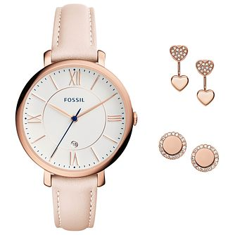 Fossil Jacqueline Rose Gold Tone Earring Watch Set - Product number 5950783