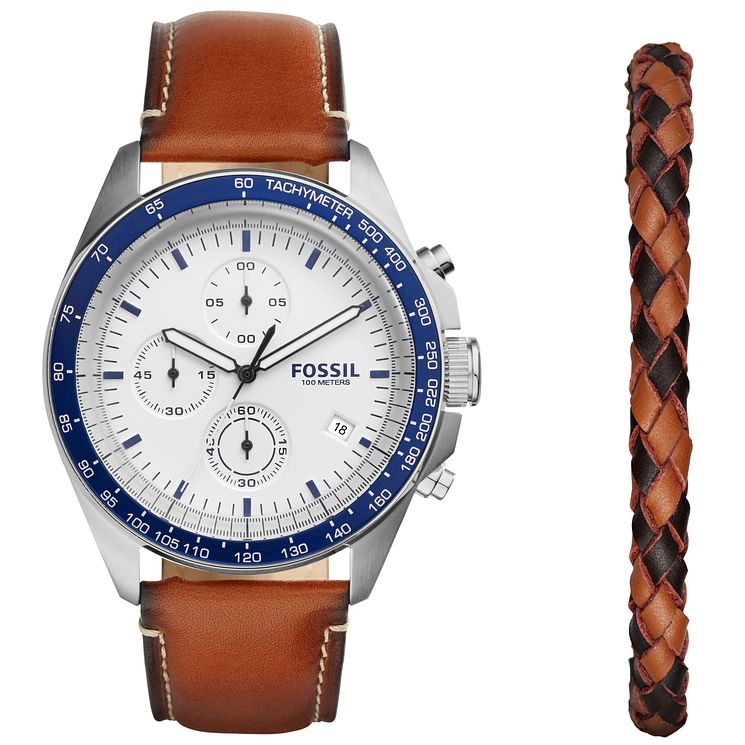 Fossil Men's Leather Bracelet Watch Set - Product number 5950791