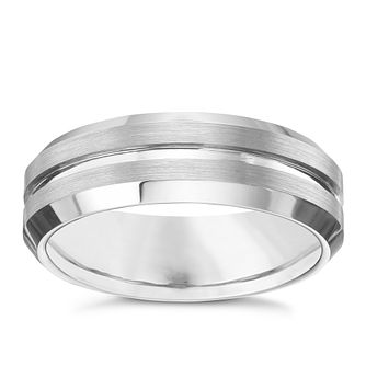 mens tungsten 7mm matt and polished ring product number 5952697 - Mens Platinum Wedding Ring