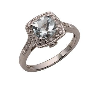 9ct White Gold Diamond and Aquamarine Vintage Ring - Product number 5987512