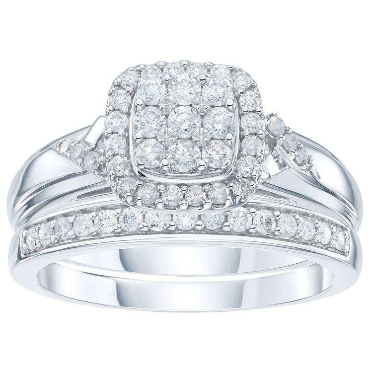 9ct White Gold 1 2ct Diamond Perfect Fit Bridal Set H Samuel At