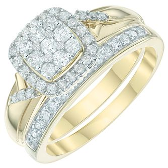 9ct Yellow Gold 1/2ct Diamond Perfect Fit Bridal Set - Product number 6009379