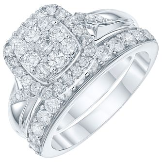 9ct White Gold 1 Carat Diamond Perfect Fit Bridal Set - Product number 6009530