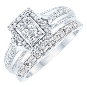 9ct White Gold 1 2ct Diamond Perfect Fit Bridal Set H Samuel