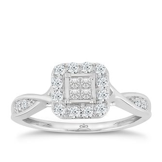9ct White Gold 2/5ct Diamond Princessa Ring - Product number 6016375