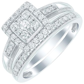 Perfect Fit Certified 18ct White Gold 1/2 Diamond Bridal Set - Product number 6020534